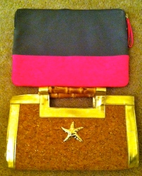Clutch or pouch? Starfish Clutch, Diane Kelly (giveaway prize c/o Back Down South) & Pink and Gray, The Gap (sale)