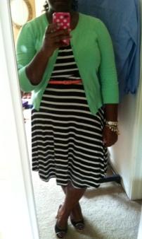 Old Navy dress, Target cardigan and belt, Tahari heels