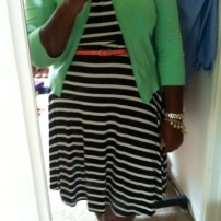 Old Navy dress, Target cardigan and belt, Tahari heels