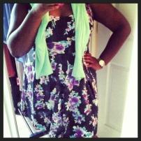 Forever 21 dress, Target cardigan, Tahari heels