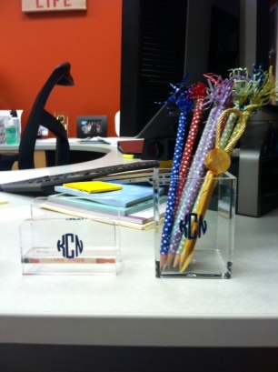 Fun pencils, monograms, and a special letter opener from my alma mater.