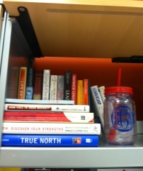 Books on Books and my monogrammed mason jar