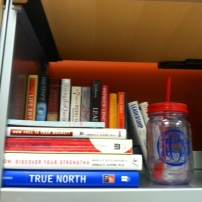 Books on Books and my monogrammed mason jar