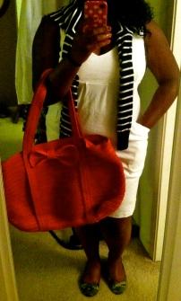 Dress: NY&Co. Bag: Blush Boutique Sweater: Banana Republic